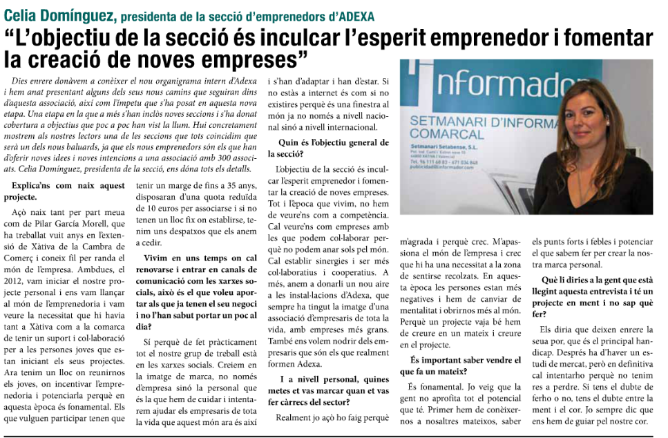 Entrevista Celia Dominguez-presidenta emprendedores xativa
